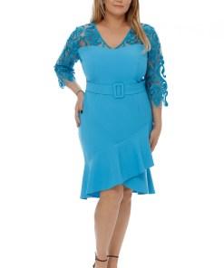 Rochie Plus Size Rebeca Turcoaz