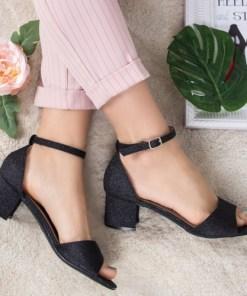 Sandale Mirali negre cu toc