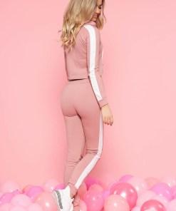 Set SunShine rosa casual din bumbac usor elastic cu buzunare accesorizat cu snur