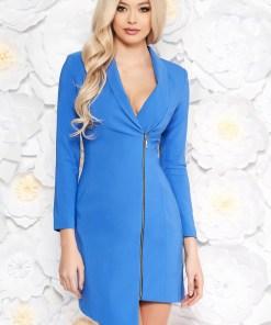 Rochie LaDonna albastra eleganta tip sacou din stofa neelastica captusita pe interior cu maneci lungi