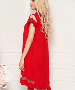 Rochie rosie eleganta cu croi larg din stofa neelastica maneci largi