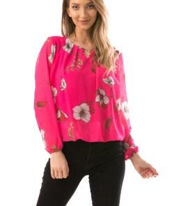 A13-5 Bluza cu imprimeu floral si maneci lungi