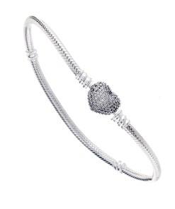 Bratara pentru talimane, Argint 925, inchizatoare inima cu zirconii albe, lungime 20 cm
