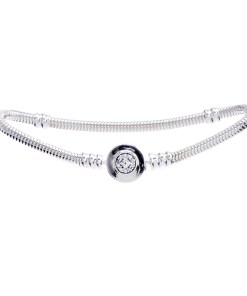 Bratara pentru talismane, Argint 925, inchizatoare cu zirconiu alb, lungime 20 cm