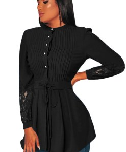 C652-1 Bluza eleganta cu maneci dantelate cordon si nasturi