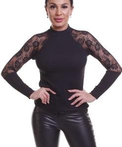 E923-1 Bluza casual accesorizata cu dantela