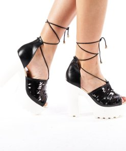 Sandale dama cu toc Rosales negre