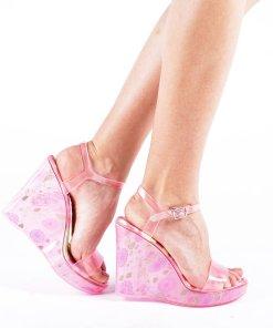 Sandale dama cu platforma Goul roz corai