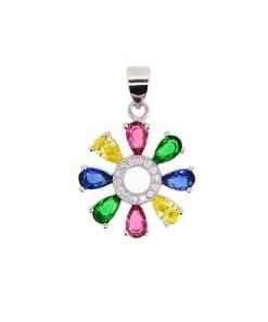 Pandantiv floare, din Argint 925, cu zirconii multicolore