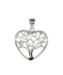 Pandantiv inima tree of life din Argint 925 rodiat, cu zirconiu alb