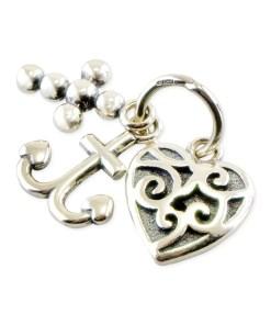 Pandantiv din argint format din inima, ancora si cruce