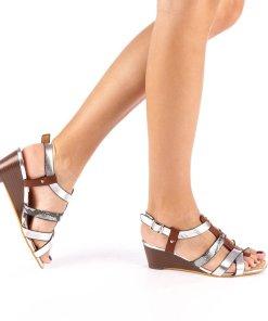 Sandale dama cu platforma Cadis argintii