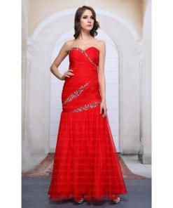 Rochie de seara rafinata, de culoare rosie, cu cristale
