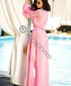 Rochie de plaja lunga din voal roz Rn 1339