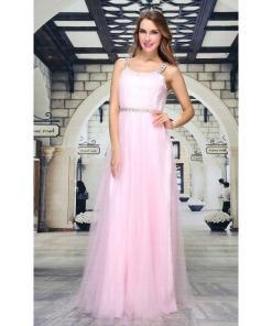 Rochie rafinata, de culoare roz, cu bretelute late - Festamo