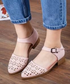 Pantofi Maryla roz cu toc gros -rl