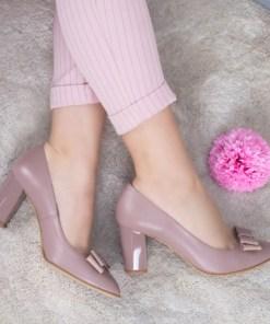 Pantofi Piele Brimie roz cu toc gros
