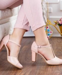 Pantofi Piele Marsia roz cu toc