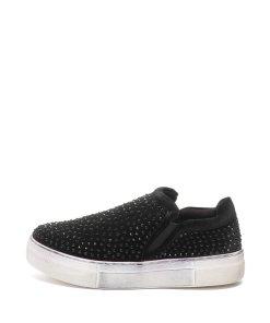 Pantofi slip-on flatform cu aplicatii cu strasuri Eva