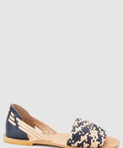 Sandale de piele cu detalii impletite