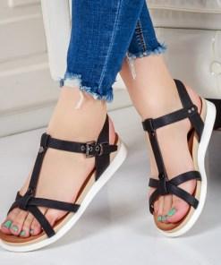 Sandale Clamita negre cu talpa joasa-rl