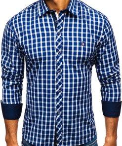 Camasa eleganta pentru barbat in carouri cu maneca lunga bluemarin Bolf 4747