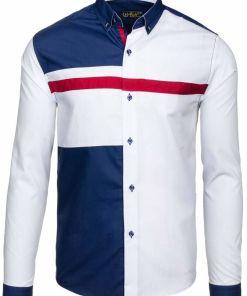 Camasa pentru barbat cu print decorativ maneca lunga alba Bolf 5729