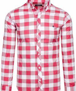 Camasa pentru barbat in carouri cu maneca lunga rosie Bolf 0773