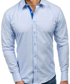 Camasa pentru barbat cu print decorativ si maneca lunga albastru-deschis Bolf 6887