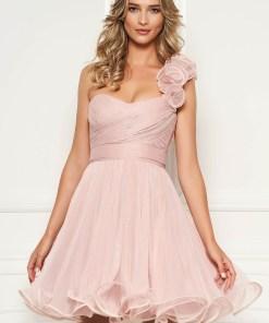 Rochie Ana Radu de ocazie roz prafuit tip corset in clos din tul cu bust buretat accesorizata cu cordon
