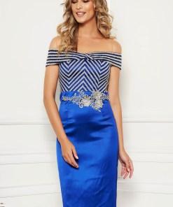 Rochie albastra eleganta midi de ocazie din material satinat tip creion
