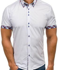 Camasa pentru barbat cu maneca scurta alba Bolf 6540