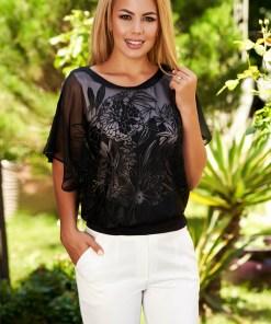 Bluza dama SunShine neagra eleganta scurta din voal cu croi larg cu decolteu rotunjit