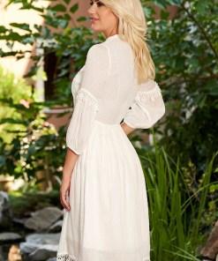Rochie PrettyGirl ivoire de zi midi in clos cu elastic in talie cu maneci prinse in elastic si elastic in talie