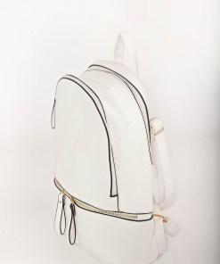 Rucsac alb casual din piele ecologica cu bretele ajustabile accesorizat cu fermoar