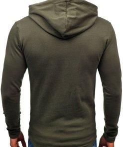 Bluza pentru barbat cu gluga si imprimeu kaki Bolf 9080