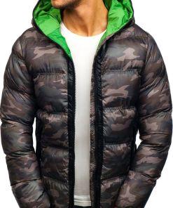Geaca pentru barbat de iarna sportiva camuflaj-verde Bolf ak128