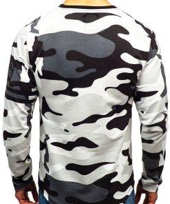 Bluza pentru barbat fara gluga cu imprimeu camuflaj-gri Bolf 0743