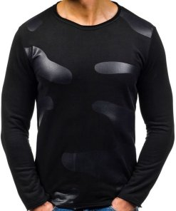 Bluza fara gluga cu imprimeu pentru barbat neagra Bolf 9081