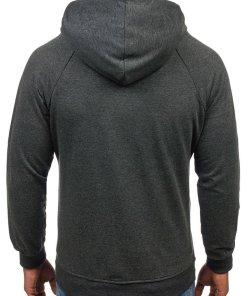Bluza cu gluga si imprimeu pentru barbat gri-antracit Bolf 78