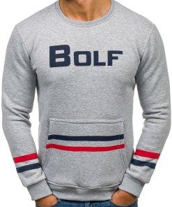 Bluza fara gluga cu imprimeu pentru barbat gri Bolf 75