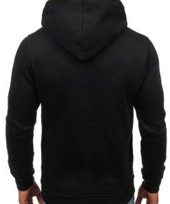 Bluza cu gluga si imprimeu pentru barbat neagra Bolf 76