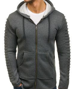 Bluza cu gluga pentru barbat gri-antracit Bolf 6010