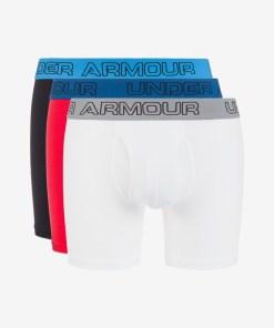 """Under Armour Charged Cotton® Stretch 6"""" Boxeri, 3 bucăți pentru Bărbați - 74913 - culoarea Albastru Roșu Alb"""