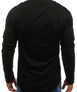 Bluza cu imprimeu pentru barbat neagra-albastra Bolf 0757