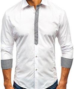Camasa eleganta cu maneca lunga pentru barbat alba Bolf 0939