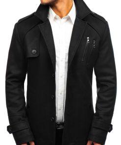 Palton de iarna pentru barbat negru Bolf 3135