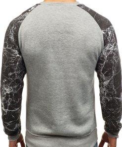 Bluza fara gluga cu imprimeu pentru barbat gri Bolf J39