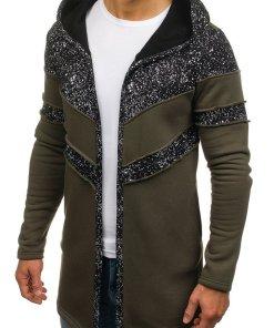 Bluza cu gluga si imprimeu pentru barbat kaki Bolf 9116