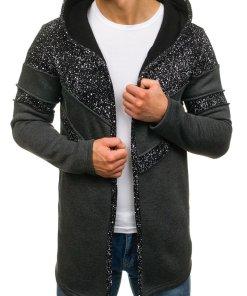 Bluza cu gluga si imprimeu pentru barbat gri-antracit Bolf 9116